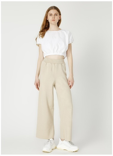 Fabrika Fabrika Geniş Paçalı Bej Kadın Pantolon Bej